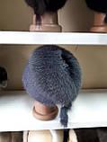 Меховая шапка из норки и песца серого цвета на вязанной основе, фото 4