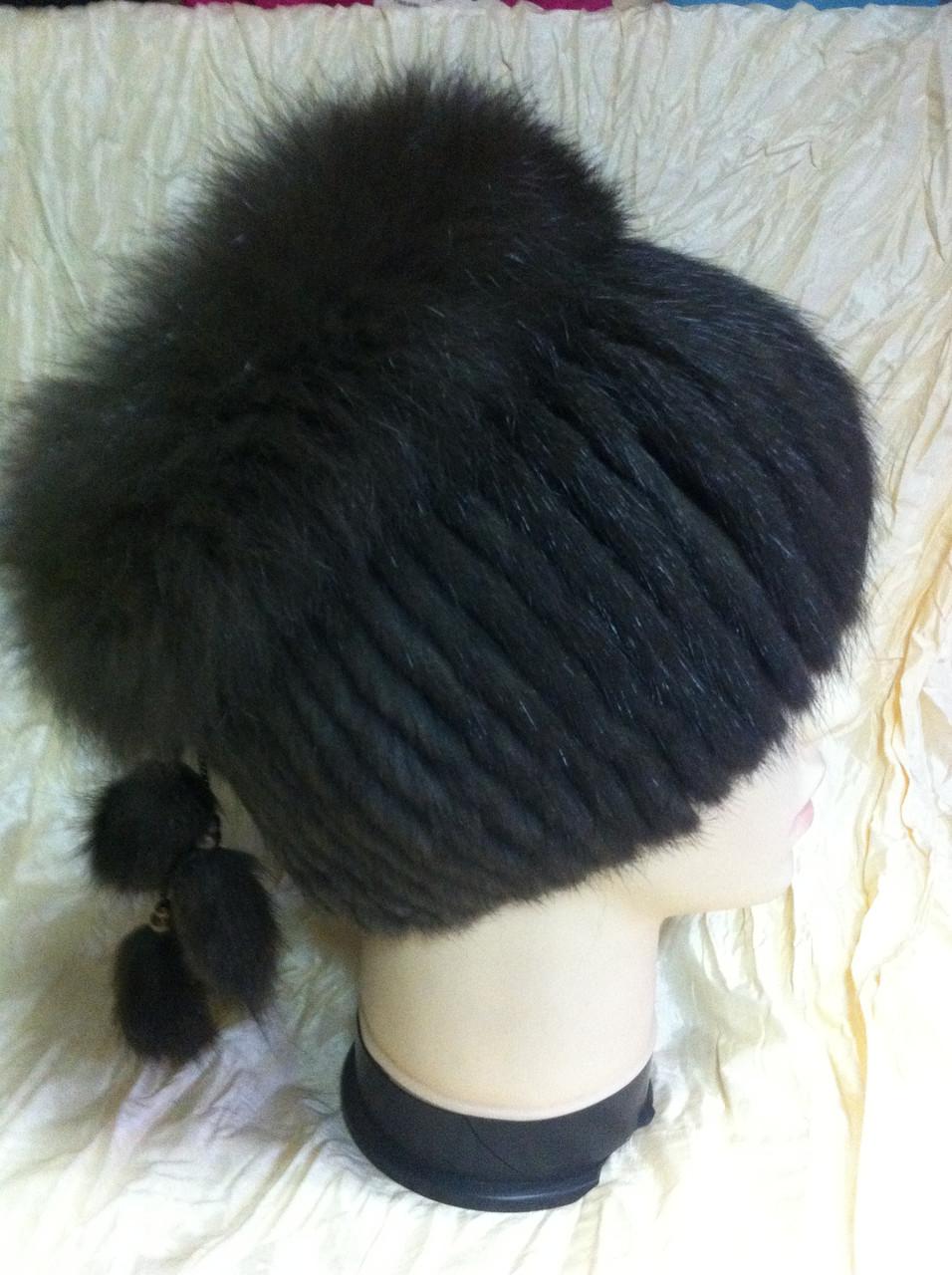 Меховая шапка из норки и песца коричневого цвета на вязанной основе