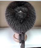 Меховая шапка из норки и песца коричневого цвета на вязанной основе, фото 4