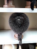 Меховая шапка из норки и песца коричневого цвета на вязанной основе, фото 7