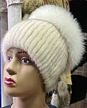Меховая шапка из норки и песца коричневого цвета на вязанной основе, фото 8