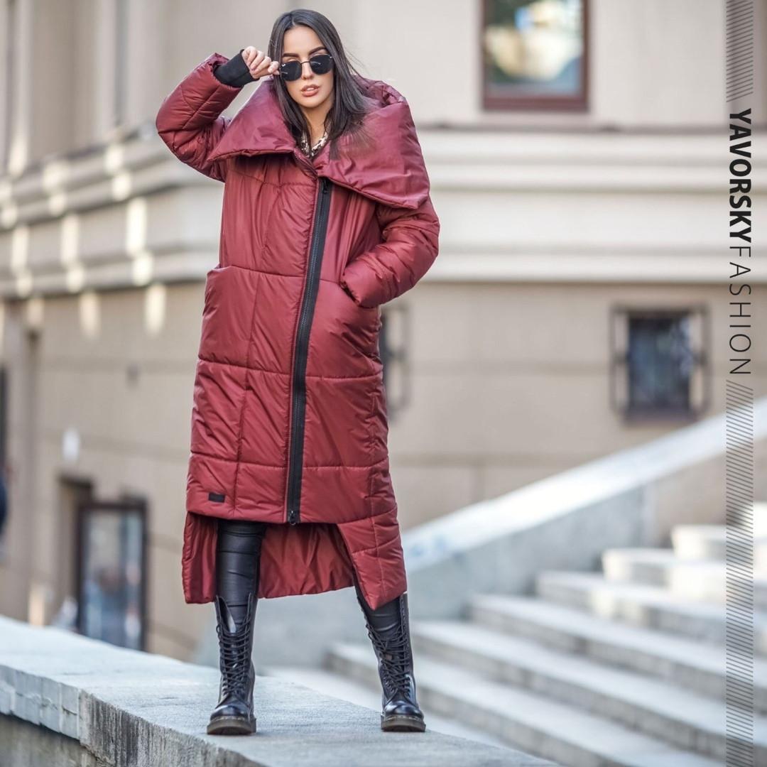 Красное женское пальто с большим воротником : S, M, L, XL.