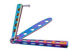 Нож бабочка, учебный тупой детский тренировочный нож балисонг, безопасен для ребенка,1072, не острый, радужный