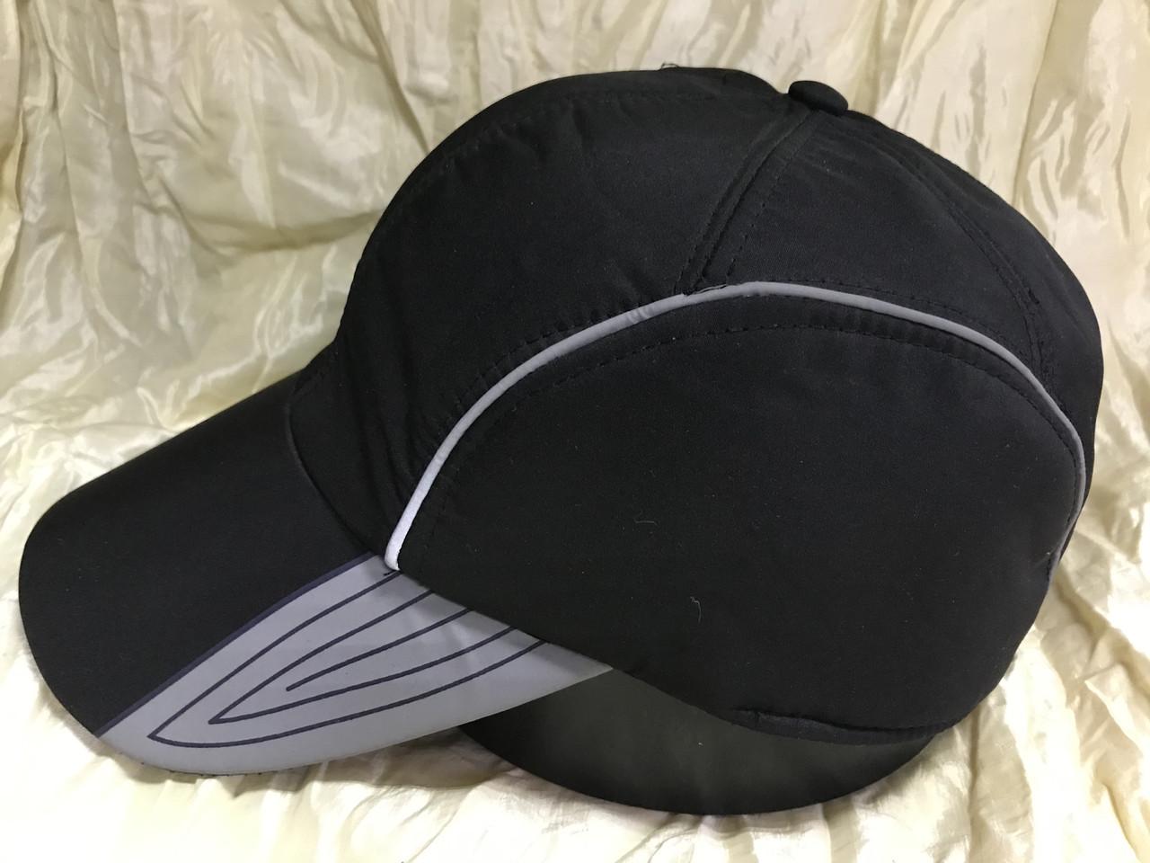 Бейсболка утеплённая мужская чёрная с серыми вставками из плащёвки
