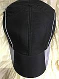 Бейсболка утеплённая мужская чёрная с серыми вставками из плащёвки, фото 2
