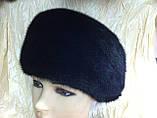 Женская  норковая шапка модель стюардесса украшение 2 полоски, фото 6