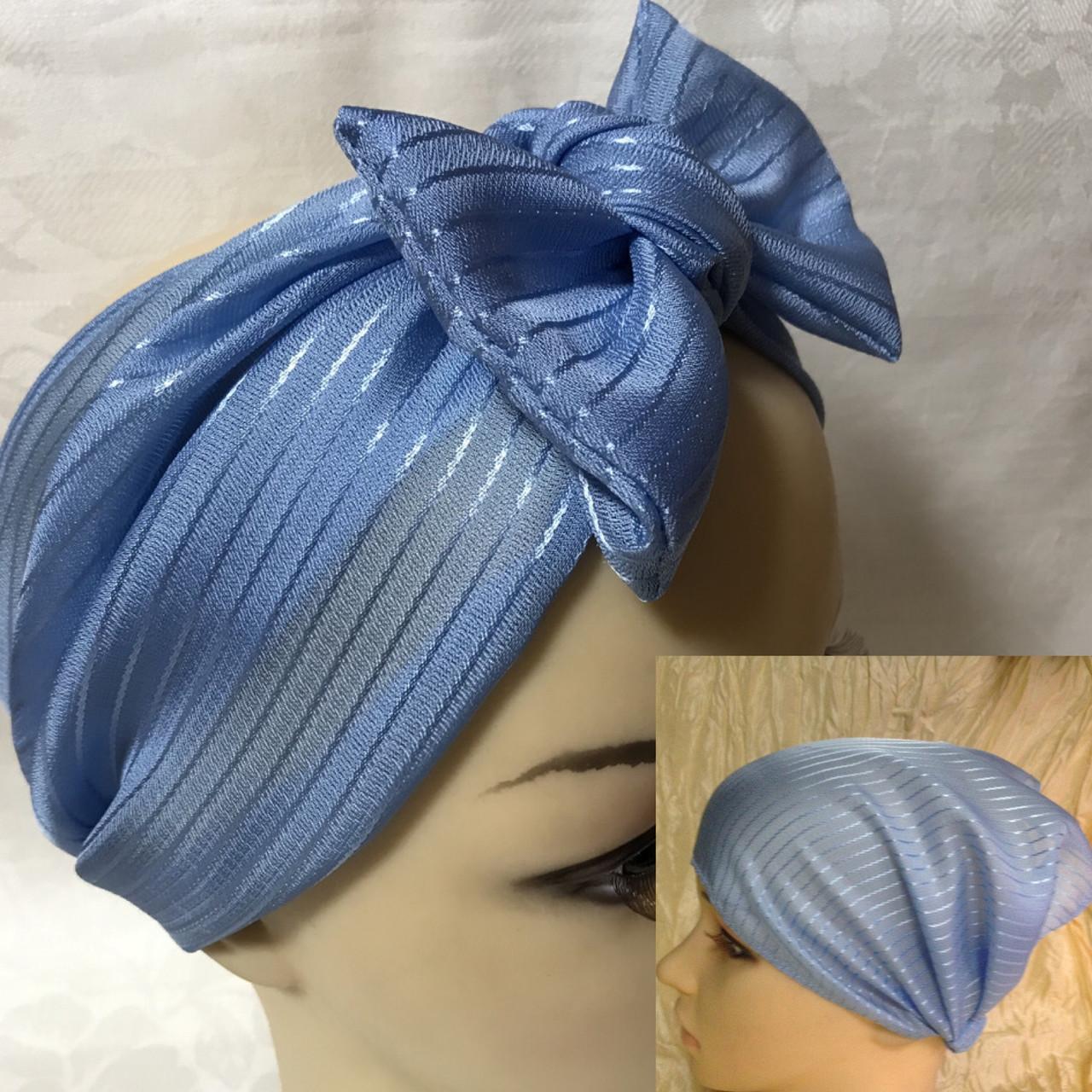 Косынка повязка Солоха на резинке цвет голубой