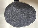 Кепка летняя мужская из льна серая в клетку 57-58 59 60, фото 3