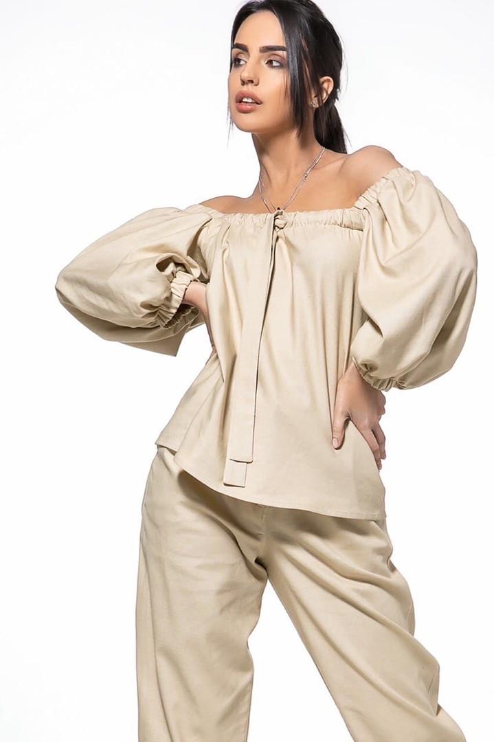 Летний женский костюм из льна размер 42 - 48 цвет бежевый