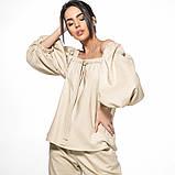 Летний женский костюм из льна размер 42 - 48 цвет бежевый, фото 2