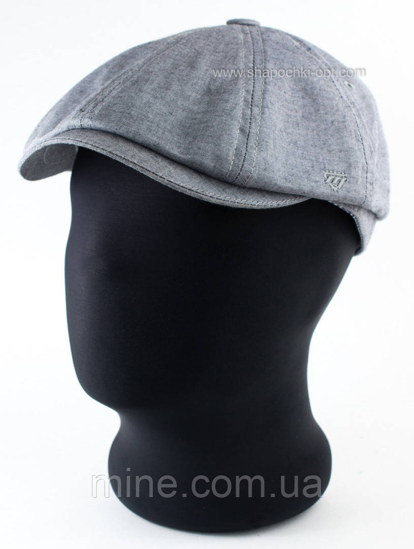 Мужская джинсовая кепка хулиганка серого цвета размер 58-59 60