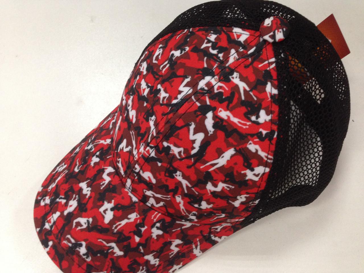 Бейсболка красная абстрактный принт с сеткой  56-59