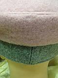 Картуз из двухцветного серо розового драпа с лаковым козырьком 55-57 см, фото 3