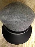 Картуз из драпа светло серого цвета с ремешком и козырьком и кожи 55-56 см, фото 2