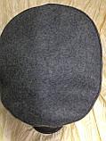 Картуз из драпа светло серого цвета с ремешком и козырьком и кожи 55-56 см, фото 5