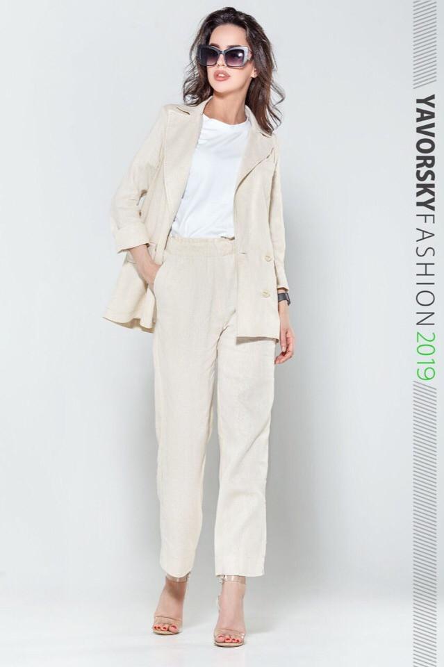 Женский костюм из льна 42-52 цвета разные Белый