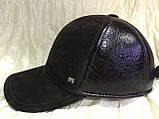 Бейсболка из натуральной замши и кожи 56-60 цвет темно коричневый, фото 2