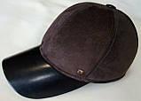 Бейсболка из натуральной замши и кожи 56-60 цвет темно коричневый, фото 3