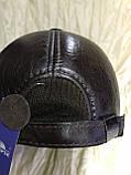 Бейсболка из натуральной замши и кожи 56-60 цвет темно коричневый, фото 6