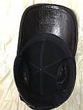 Бейсболка из натуральной замши и кожи 56-60 цвет темно коричневый, фото 7