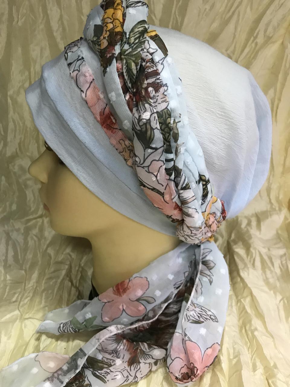 Летняя  хлопковая бандана-шапка-косынка цвет персиковый  голубой