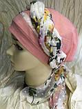 Летняя  хлопковая бандана-шапка-косынка цвет персиковый  голубой, фото 2