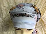 Летняя  хлопковая бандана-шапка-косынка цвет персиковый  голубой, фото 5