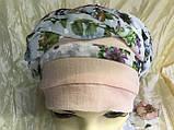 Летняя  хлопковая бандана-шапка-косынка цвет персиковый  голубой, фото 7