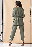 Спортивный женский костюм на манжетах  на поясе с карманами, фото 3