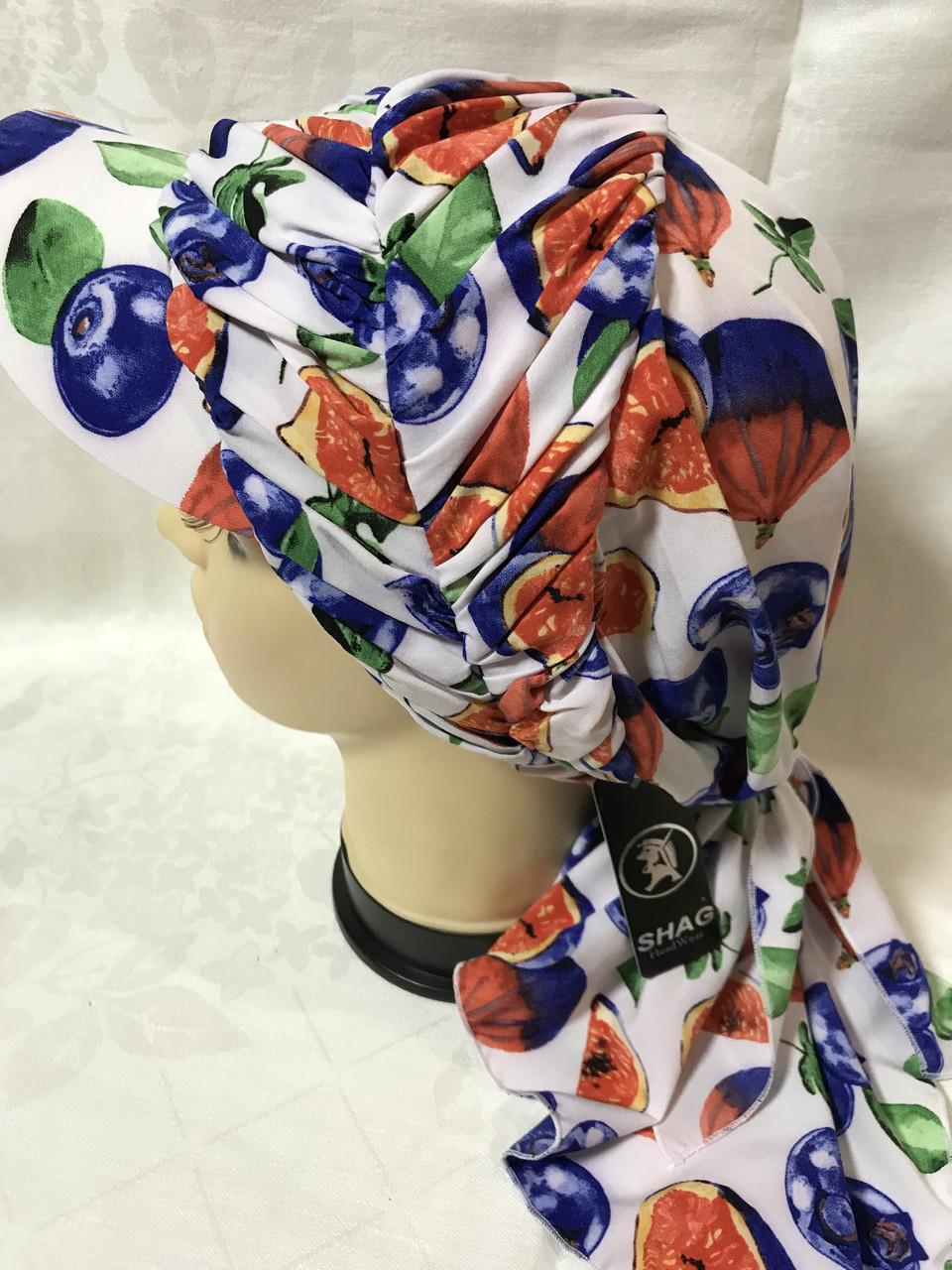 Разноцветная бандана-шапка-косынка с козырьком и объёмной драпировкой