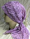 Бандана-шапка-косынка хлопковая с объёмной драпировкой цвет розовый, фото 2