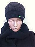 Молодёжный комплект крупной вязки :шарф  и шапка украшенная камнями, фото 5