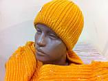 Молодежный жлтый комплект  шапка + шарф, фото 2