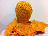 Молодежный жлтый комплект  шапка + шарф, фото 3
