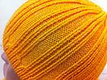 Молодежный жлтый комплект  шапка + шарф, фото 4