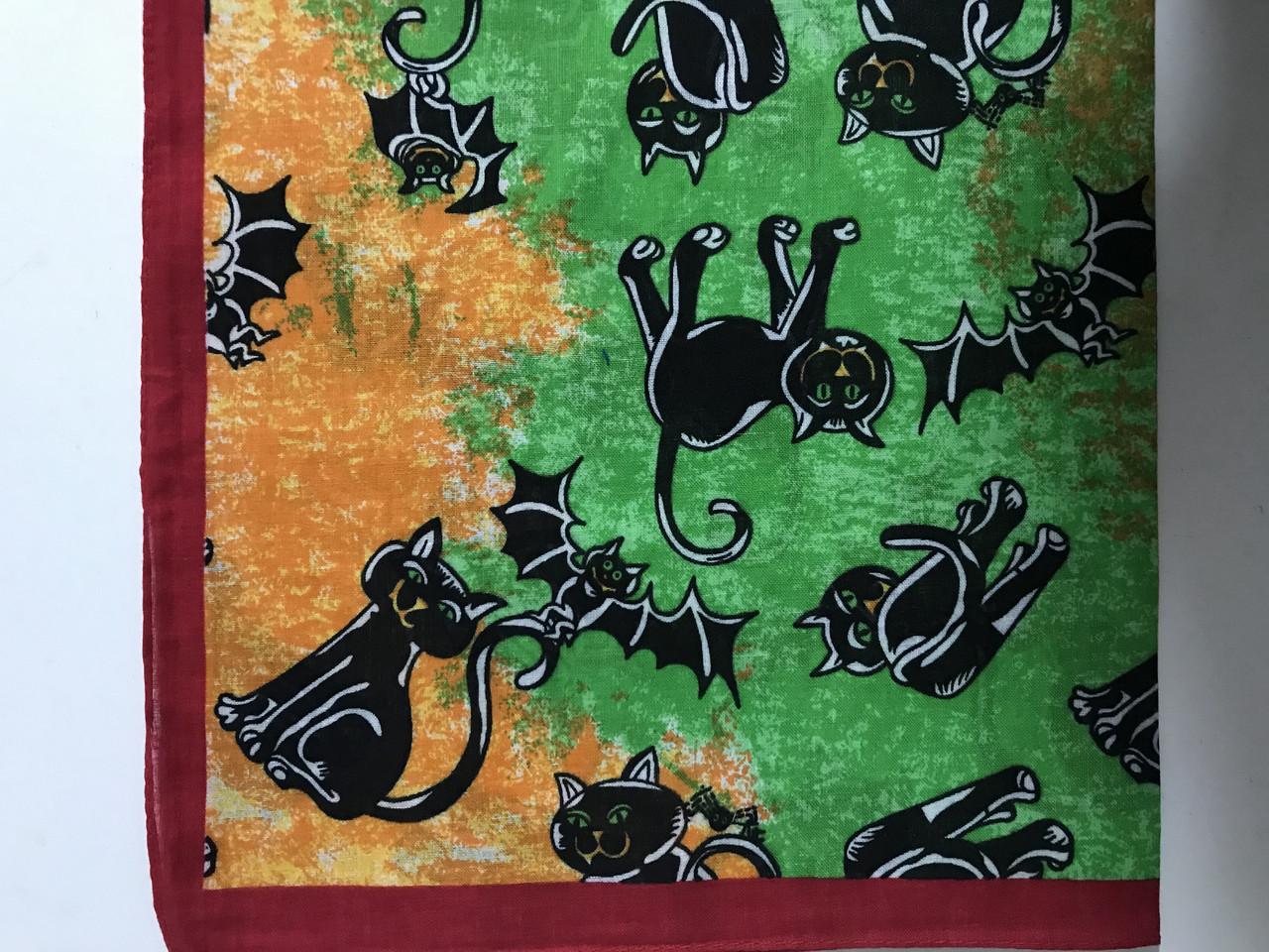 Бандана (платок) хлопок  цвет зеленый +желтый с рисунком
