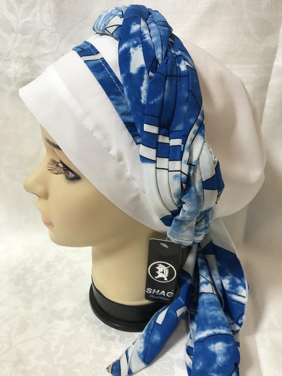 Женская летняя  бандана-шапка-косынка белая с синим и бирюзовая