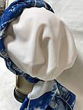 Женская летняя  бандана-шапка-косынка белая с синим и бирюзовая, фото 2