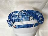 Женская летняя  бандана-шапка-косынка белая с синим и бирюзовая, фото 3