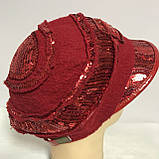 Картуз шерстянной красного цвета с  пайетками  55-57, фото 2