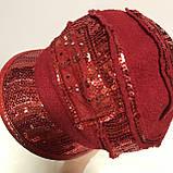 Картуз шерстянной красного цвета с  пайетками  55-57, фото 4