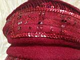 Картуз шерстянной красного цвета с  пайетками  55-57, фото 6