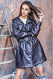 Женская парка из эко-кожи : S-M, L-XL, XL-XXL цвет бежевый принт змеи, фото 7