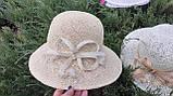 Летняя шляпа из натуральной  соломки цвет бежевый, фото 3