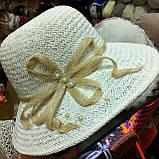 Летняя шляпа из натуральной  соломки цвет бежевый, фото 4