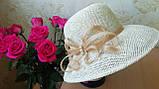 Летняя шляпа из натуральной  соломки цвет бежевый, фото 6