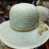 Летняя шляпа из натуральной  соломки цвет бежевый, фото 7
