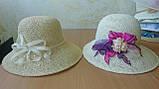 Летняя шляпа из натуральной  соломки цвет бежевый, фото 8