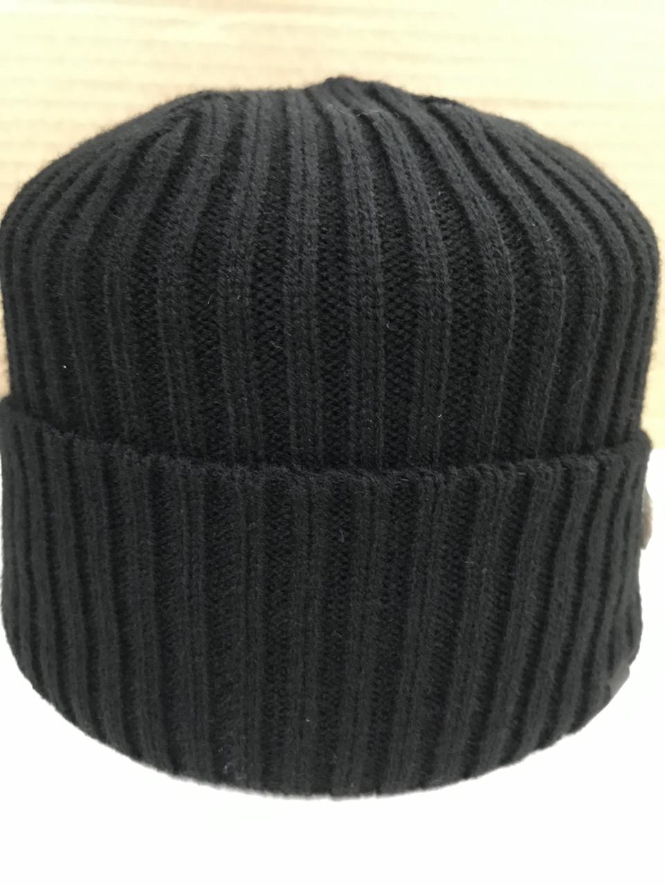 Чёрая мужская классическая шапка  с отворотом без флиса