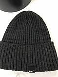Чёрая мужская классическая шапка  с отворотом без флиса, фото 4